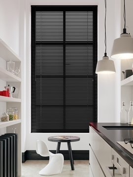 Afbeeldingen van Jaloezie Aluminium 25mm Zwart/ wit gestreept DEC25160