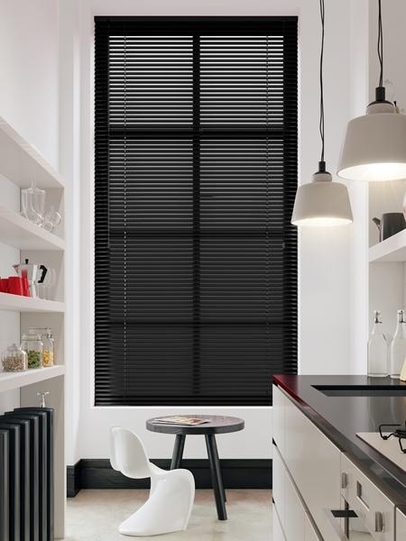 Afbeelding van Jaloezie Aluminium 25mm Zwart/ wit gestreept DEC25160
