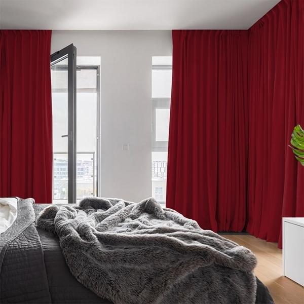 Afbeelding van Dim-out satijn look gordijnen op maat Uni kleur Zuiver rood - Phoenix