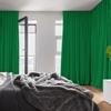 Afbeelding van Dim-out satijn look gordijnen op maat Uni kleur Zuiver groen - Phoenix