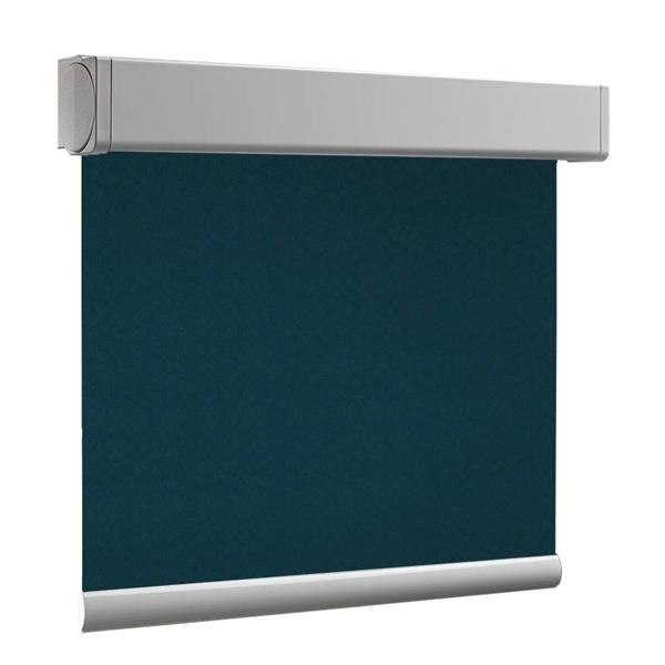 Afbeelding van Luxe rolgordijn cassette vierkant - Groen/Blauw zee Semi transparant