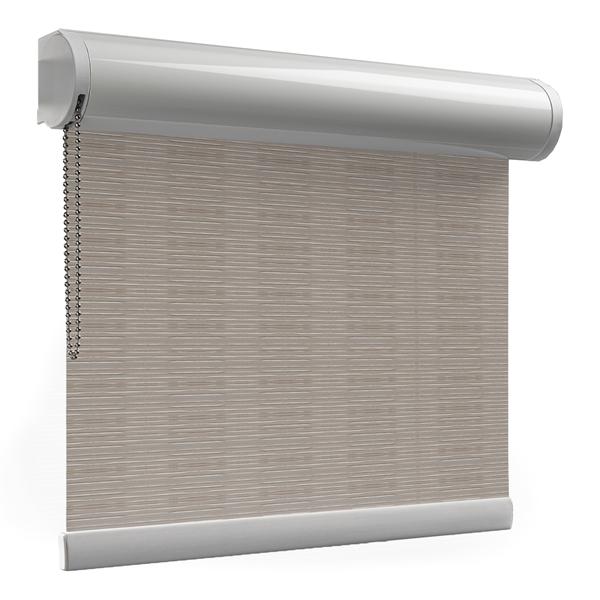 Afbeelding van Rolgordijn op maat Cassette rond - Luxe beige bruin  ribbel Verduisterend