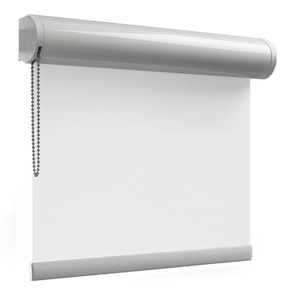 Afbeelding van Rolgordijn op maat Cassette rond - Glimmend wit Verduisterend
