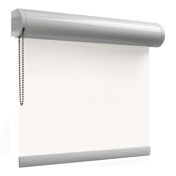 Afbeelding van Rolgordijn op maat Cassette rond - Off White / Wit Verduisterend