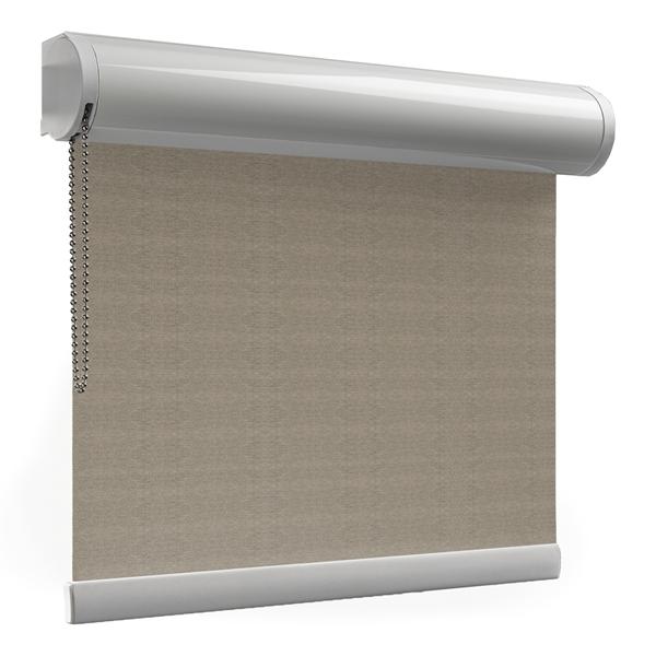 Afbeelding van Rolgordijn met luxe cassette rond - Bruin tweed Semi transparant