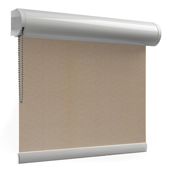 Afbeelding van Rolgordijn met luxe cassette rond - Beige donkergroen Semi transparant