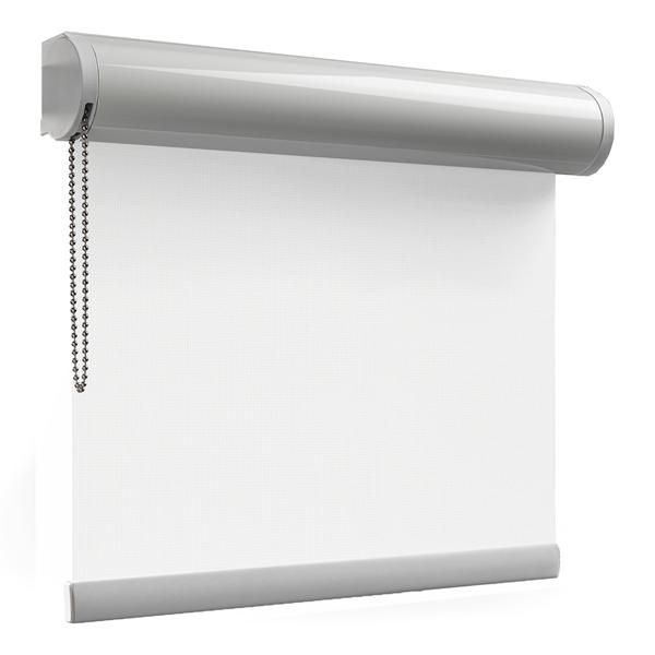 Afbeelding van Rolgordijn met luxe cassette rond - Gebroken wit Semi transparant