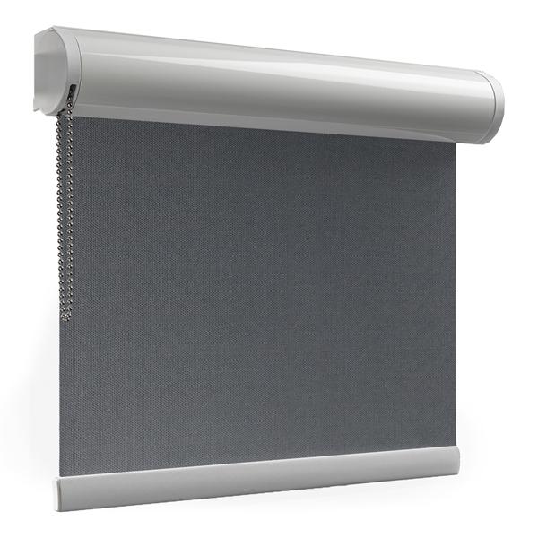 Afbeelding van Rolgordijn met luxe cassette rond - Strak antraciet Semi transparant