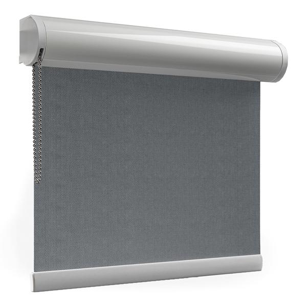 Afbeelding van Rolgordijn met luxe cassette rond - Gemeleerd antraciet Semi transparant