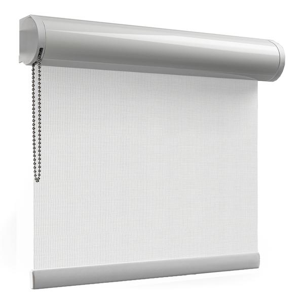 Afbeelding van Rolgordijn met luxe cassette rond - Zilver wit Semi transparant