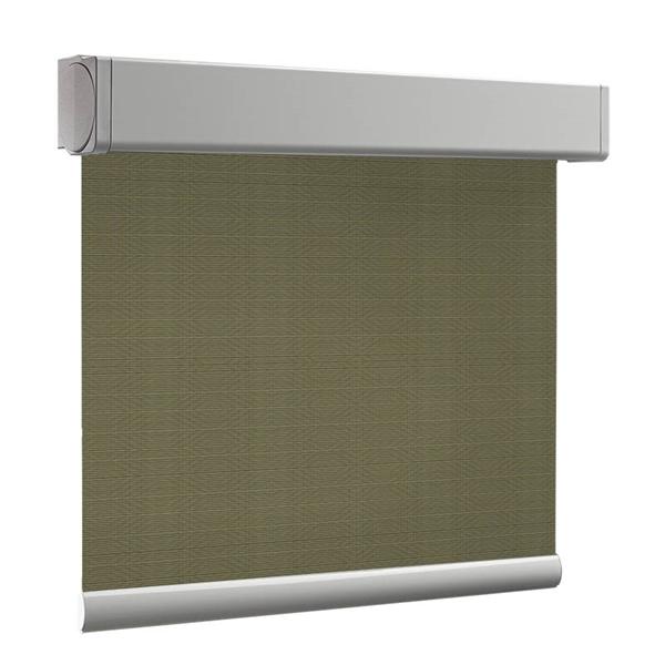 Afbeelding van Rolgordijn brede ramen Cassette vierkant - Luxe olijfgroen Transparant