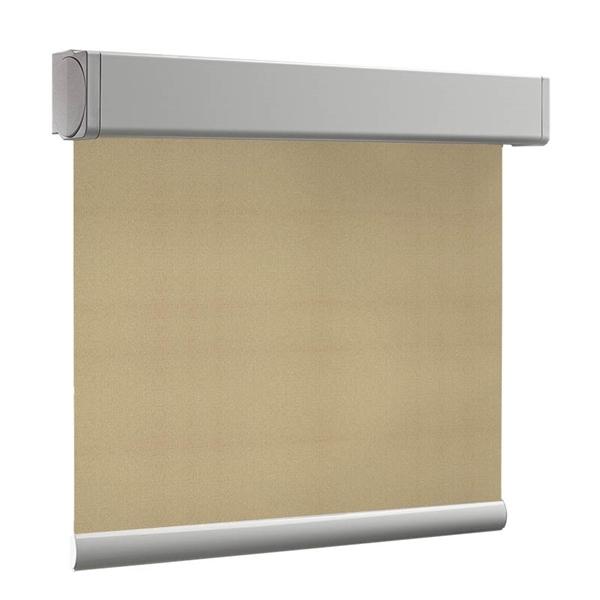 Afbeelding van Rolgordijn brede ramen Cassette vierkant - Zand geweven Transparant