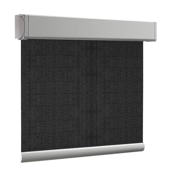 Afbeelding van Rolgordijn brede ramen Cassette vierkant - Vintage zwart Transparant