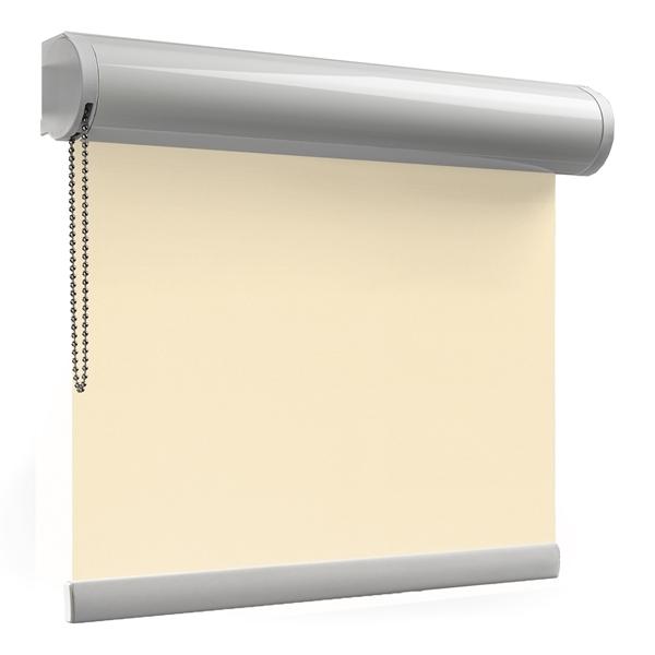Afbeelding van Rolgordijn op maat XL cassette rond - Creme beige Verduisterend