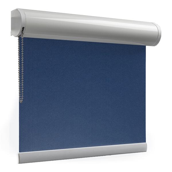 Afbeelding van Rolgordijn op maat XL cassette rond - Donkerblauw Verduisterend