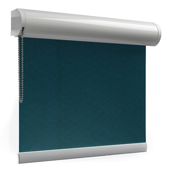 Afbeelding van Rolgordijn XL luxe cassette rond - Groen/Blauw zee Semi transparant