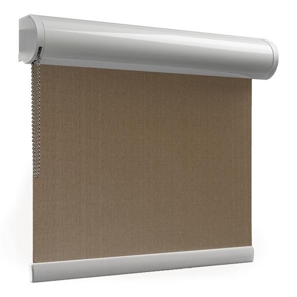 Afbeelding van Rolgordijn XL luxe cassette rond - Olijfbruin Semi transparant
