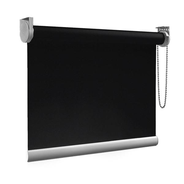 Afbeelding van Rolgordijn op maat Zijsteunen - Zwart luxe Verduisterend