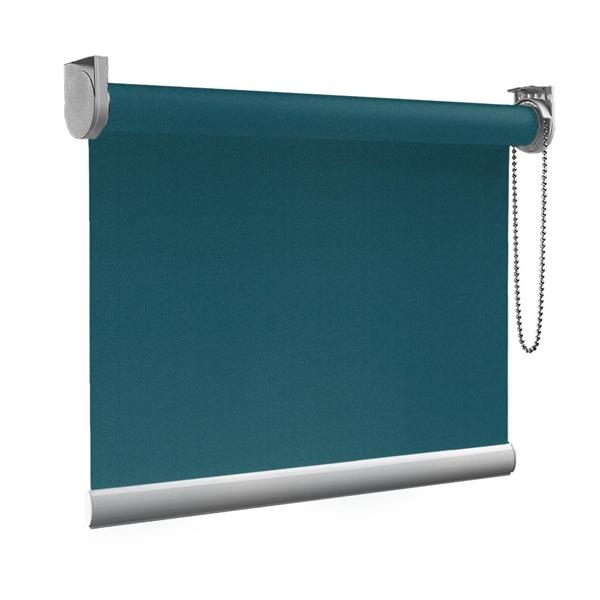 Afbeelding van Rolgordijn op maat Zijsteunen - Donkerturquoise Verduisterend