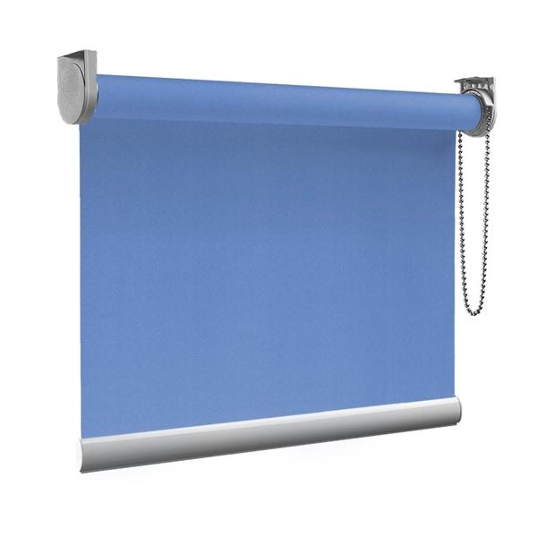 Afbeelding van Rolgordijn op maat Zijsteunen - Blauw azuur Verduisterend