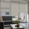 Afbeelding van Rolgordijn Breed Montagesteunen - Creme bruin ribbel met streep Semi transparant