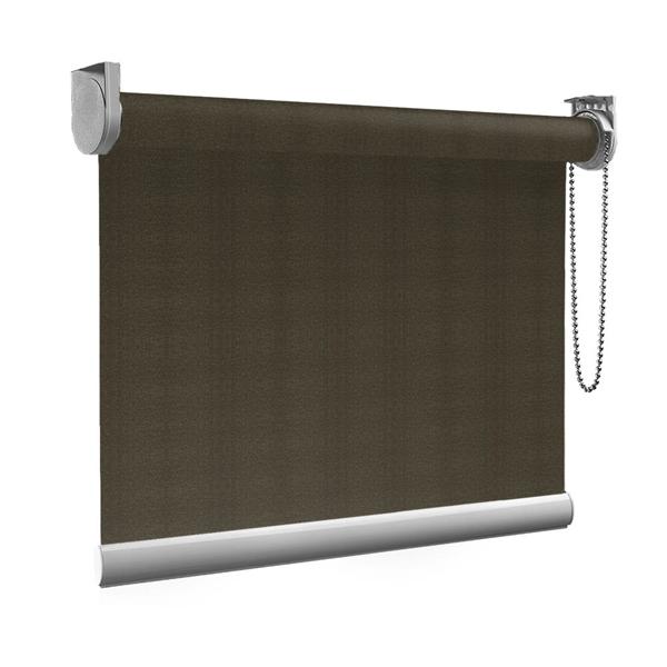 Afbeelding van Rolgordijn Breed Montagesteunen - Gemeleerd bruin geweven Semi transparant