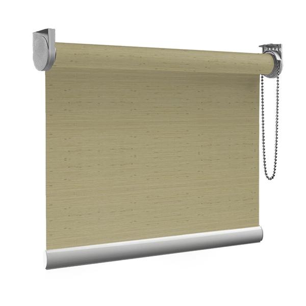 Afbeelding van Rolgordijn op maat Brede ramen - Glans goud beige met streep Transparant