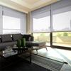 Afbeelding van Rolgordijn op maat Brede ramen - Lichtgrijs turqoise Transparant